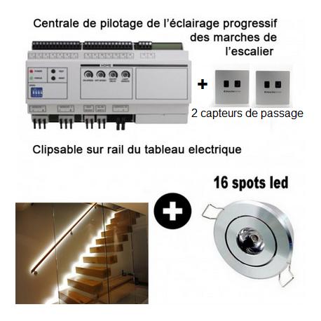 Kit éclairage led progressif pour escalier + 16 spot led encastrable