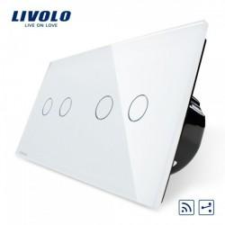 4 Gang Touch 2 Wege Remote/Funk Wechsel Lichtschalter Kristall Glas