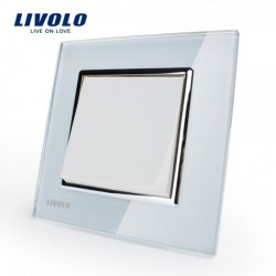Manufacturer Livolo Luxury white crystal glass panel, Push button switch/ smart home, VL-C7K1-11