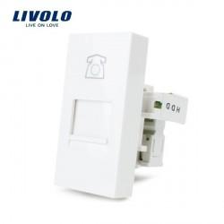 Module téléphone femelle RJ11 à clipser platine LIVOLO