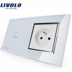 Interrupteur Tactile 1 bouton - 1 voie + prise FR