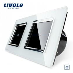 Dimmer Lichtschalter Glas Touchscreen Doppelschalter