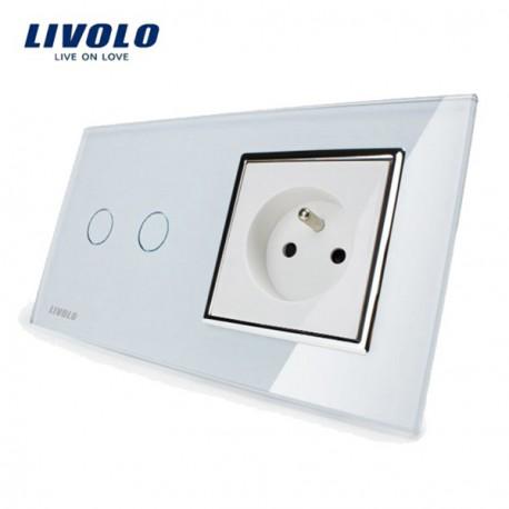 Interrupteur Tactile 2 boutons - 2 X 1 voie + prise FR