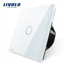 Livolo Luxury White Crystal Glass ,Wall Switch, Touch Switch, EU Standard, VL-C701-11,220~250V Touch Screen Wall Light Switch