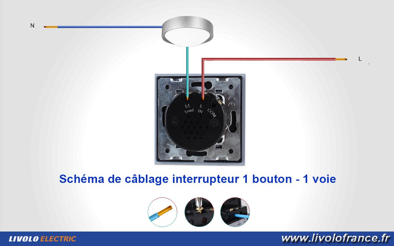 Interrupteur tactile 1 bouton / 1 voie