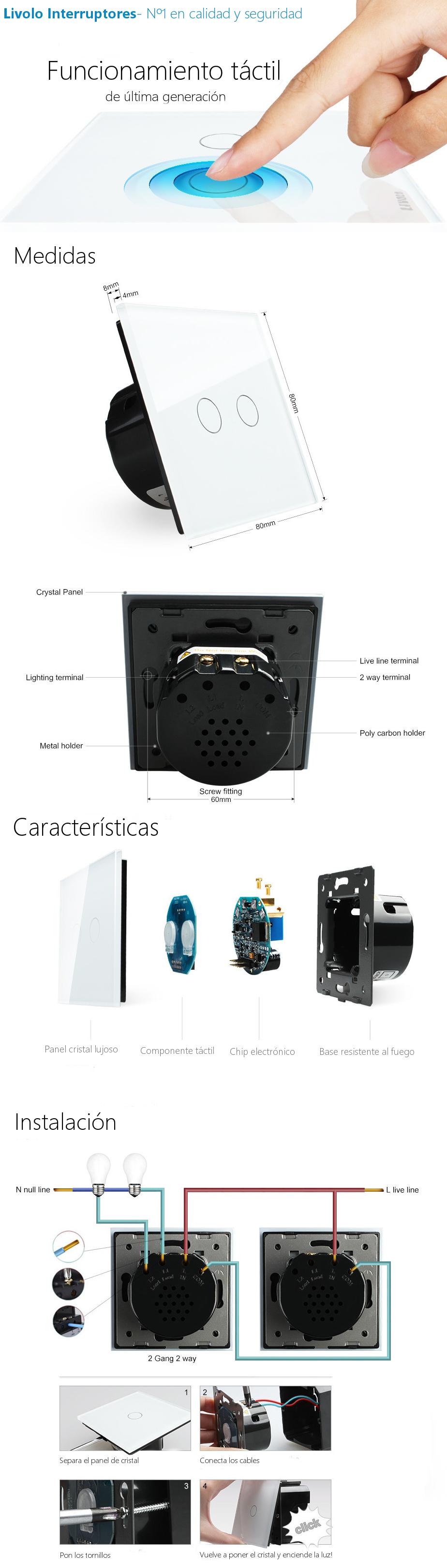 Interruptor tactil DOBLE 2-3 vías conmutador Livolo luz de pared blanco con panel cristal MODERNO EU