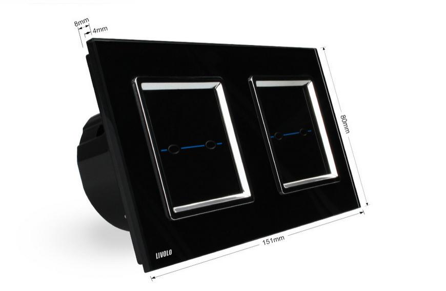 Interrupteur tactile LIVOLO 4 boutons 4X1 voie télécommandable contour carré chromé.