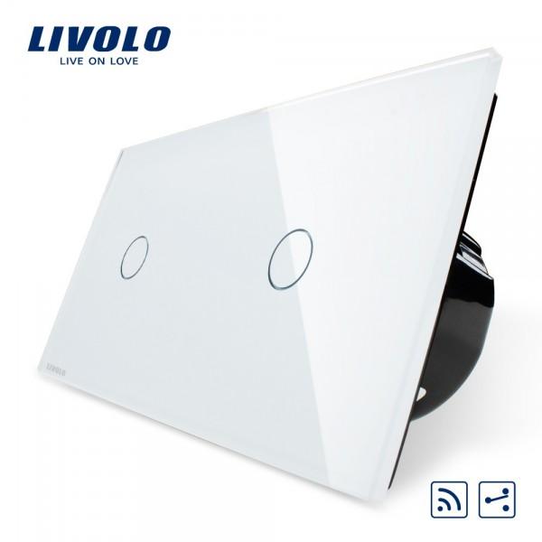 Interrupteur récepteur 2 boutons 2 voies design LIVOLO de luxe en verre