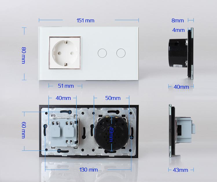dimension interrupteur livolo 2 boutons + pris EU